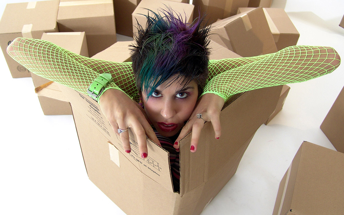 Woman in a carton